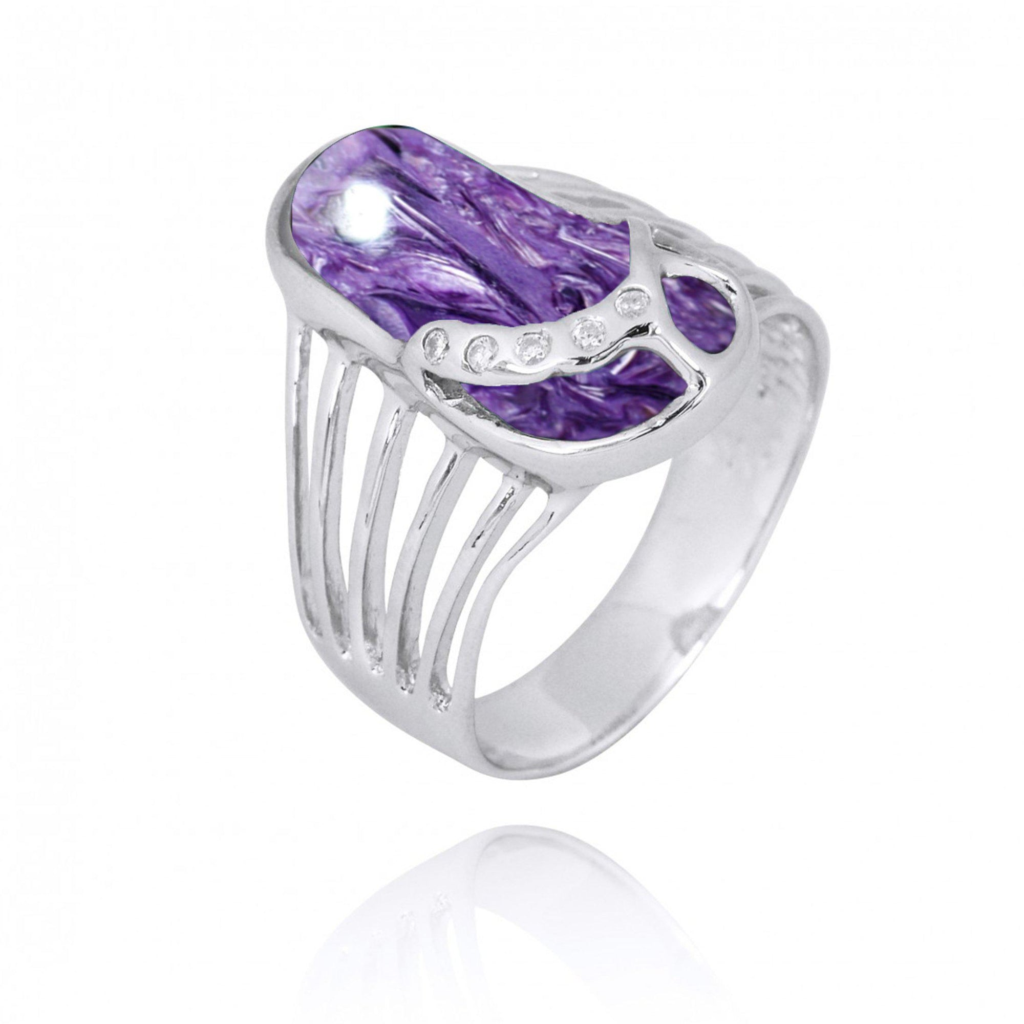 Ring-Sterling Silver Flip Flop Ring with Charoite and White CZ-Coastal Passion