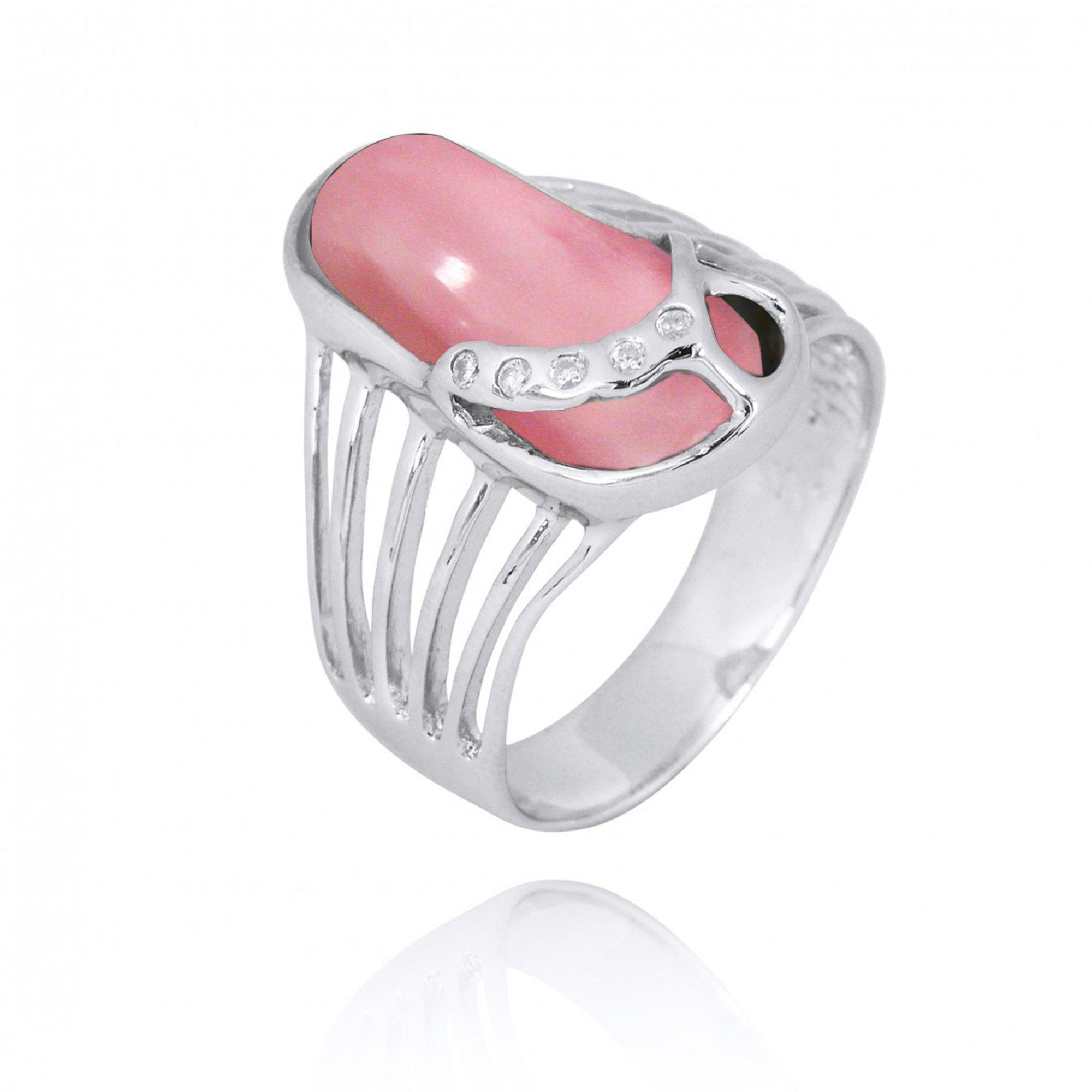 Ring-Sterling Silver Flip Flop Ring with Pink Opal and White CZ-Coastal Passion