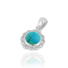 Pendant-Sterling Silver Flower Pendant with Round Compressed Turquoise-Coastal Passion