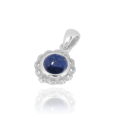 Pendant-Sterling Silver Flower Pendant with Round Lapis-Coastal Passion