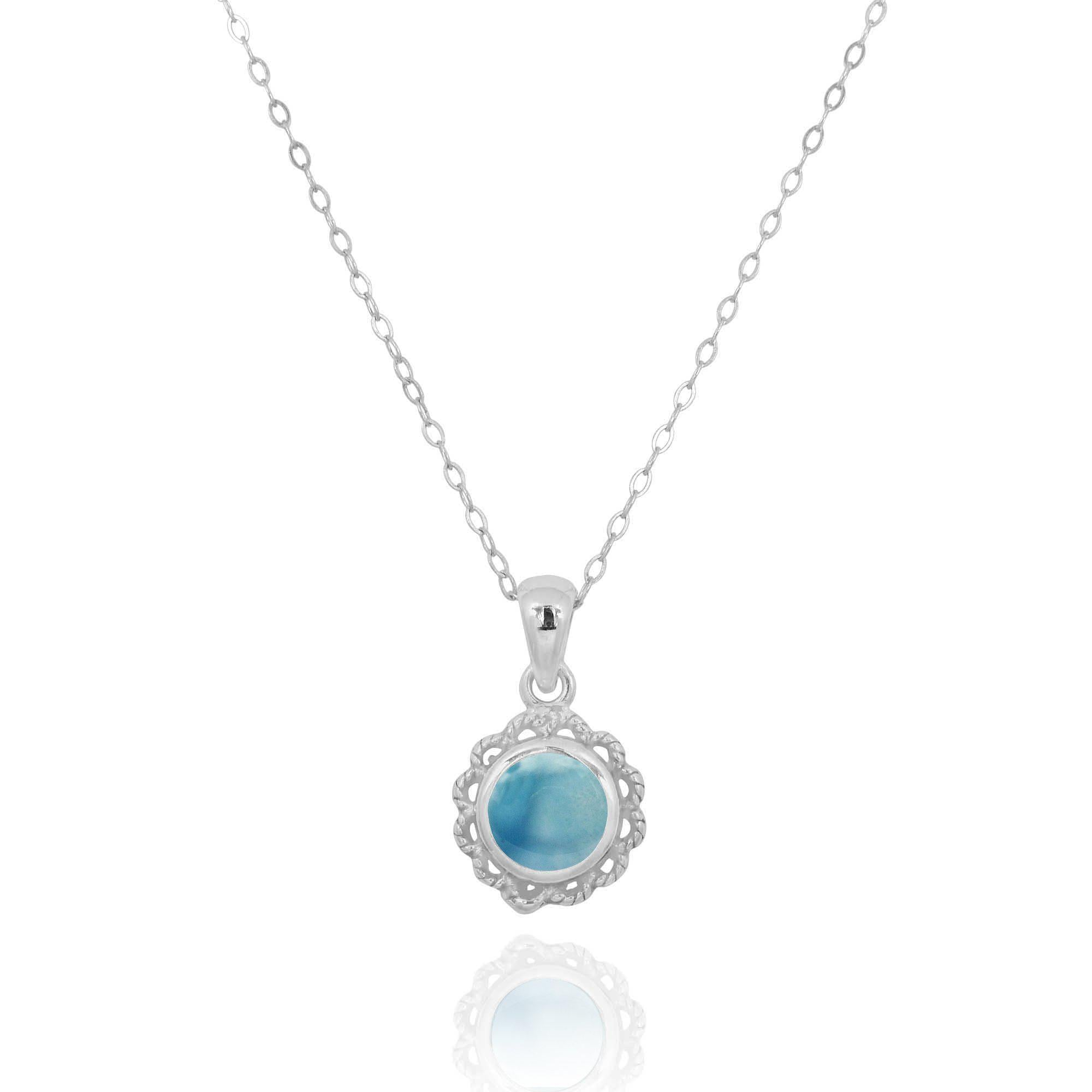 Sterling Silver Flower Pendant with Round Larimar