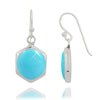 Earrings-Sterling Silver Hexagonal Turquoise Drop Earrings-Coastal Passion