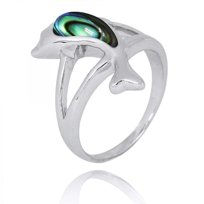 Ring-Sterling Silver Jumping Dolphin Ring with Abalone Shell-Coastal Passion