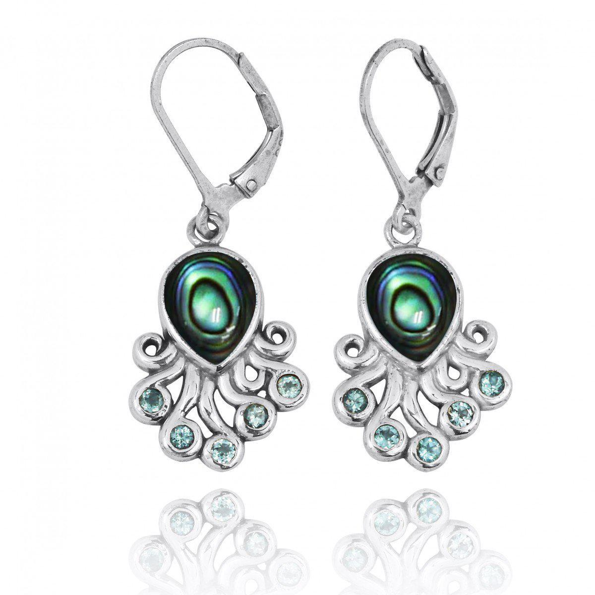Sterling Silver Octopus with Abalone Shell and Swiss Blue Topaz Lever Back Earrings