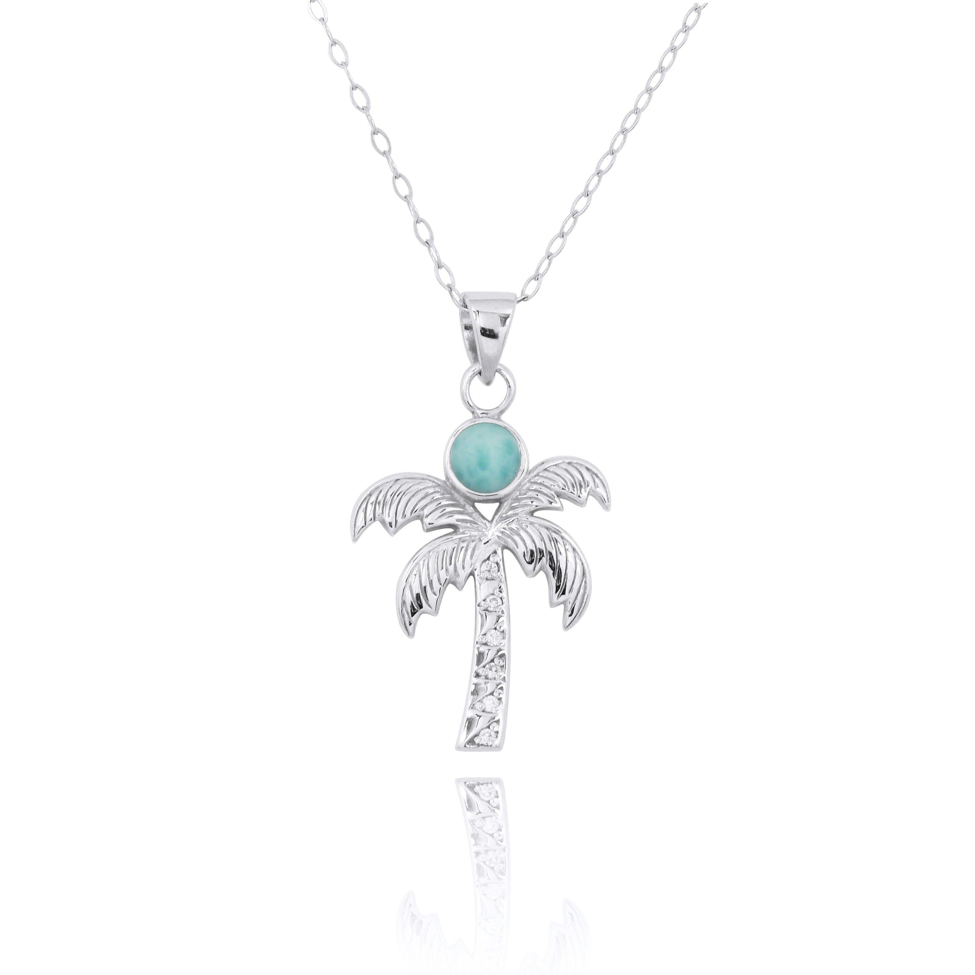 Sterling Silver Palm Tree Pendant Necklace with Larimar and White Topaz