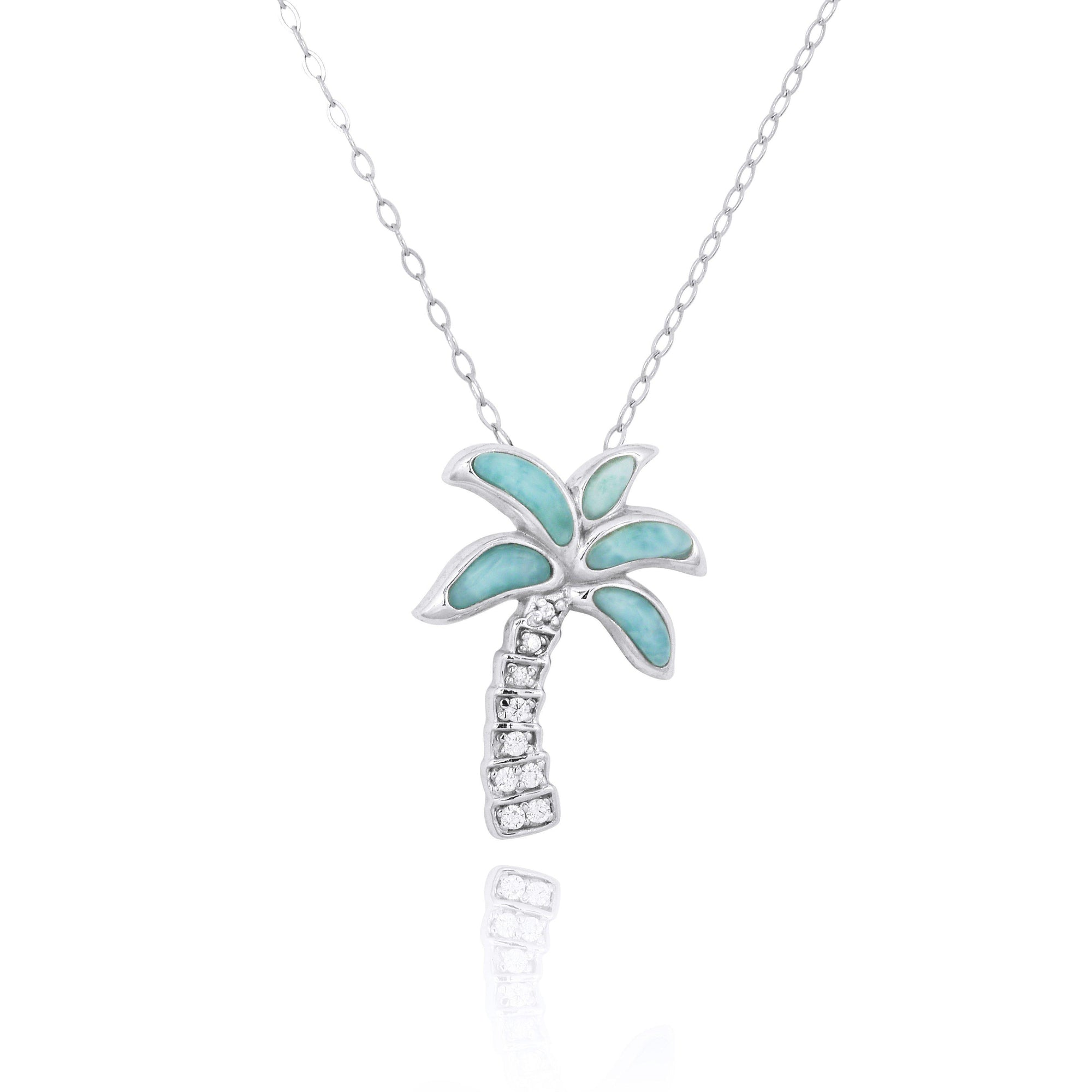 Sterling Silver Palm Tree with Larimar and CZ Pendant Necklace