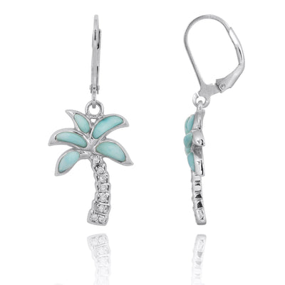 Earrings-Sterling Silver Palm Tree with Larimar and White CZ Lever Back Earrings-Coastal Passion