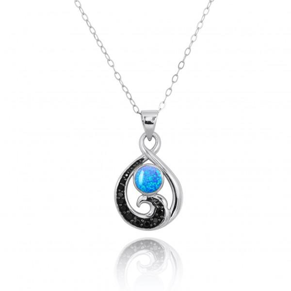 Pendant-Sterling Silver Pendant with Black Spinel Wave and Blue Opal-Coastal Passion