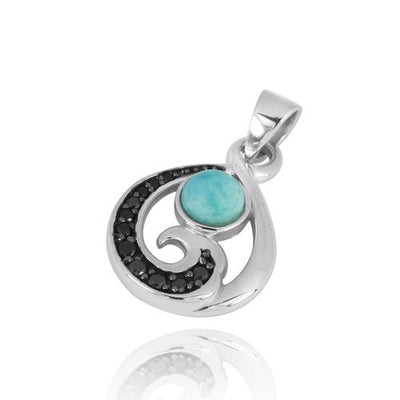 Pendant-Sterling Silver Pendant with Black Spinel Wave and Round Larimar-Coastal Passion