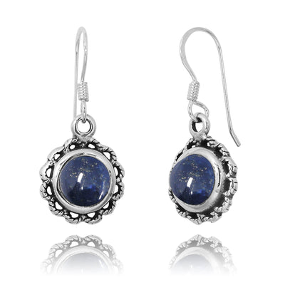 Earrings-Sterling Silver Round French Wire Earrings with Round Lapis-Coastal Passion