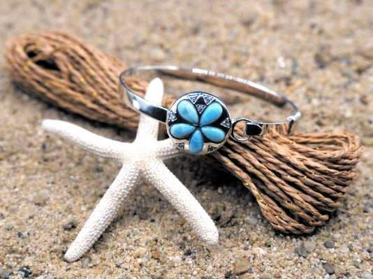 Bracelet-Sterling Silver Sand Dollar Bangle with Larimar and White CZ-Coastal Passion
