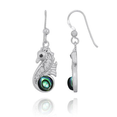 Earrings-Sterling Silver Seahorse Drop Earrings with Abalone Shell and CZ-Coastal Passion