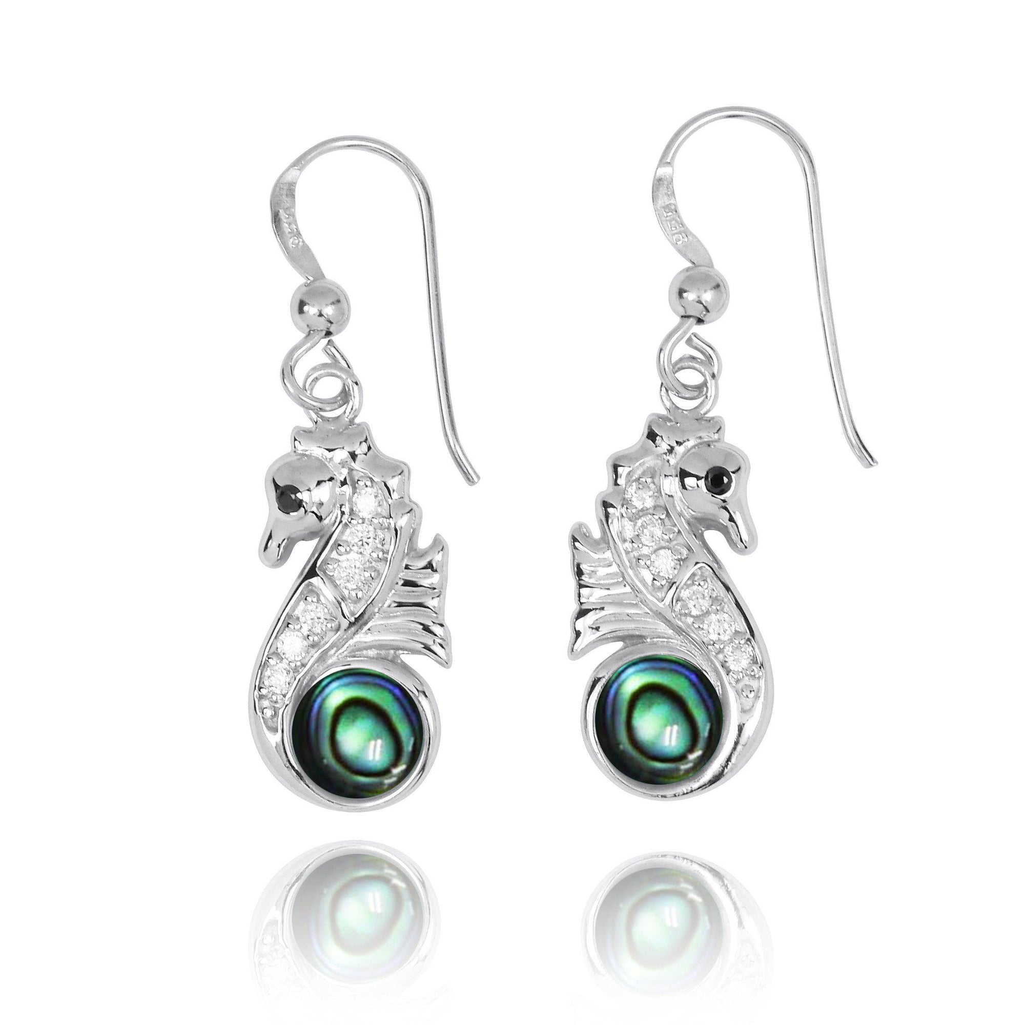 Sterling Silver Seahorse Drop Earrings with Abalone Shell and CZ