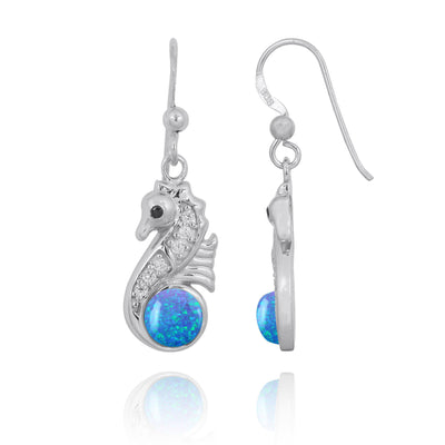 Earrings-Sterling Silver Seahorse Drop Earrings with Blue Opal and CZ-Coastal Passion