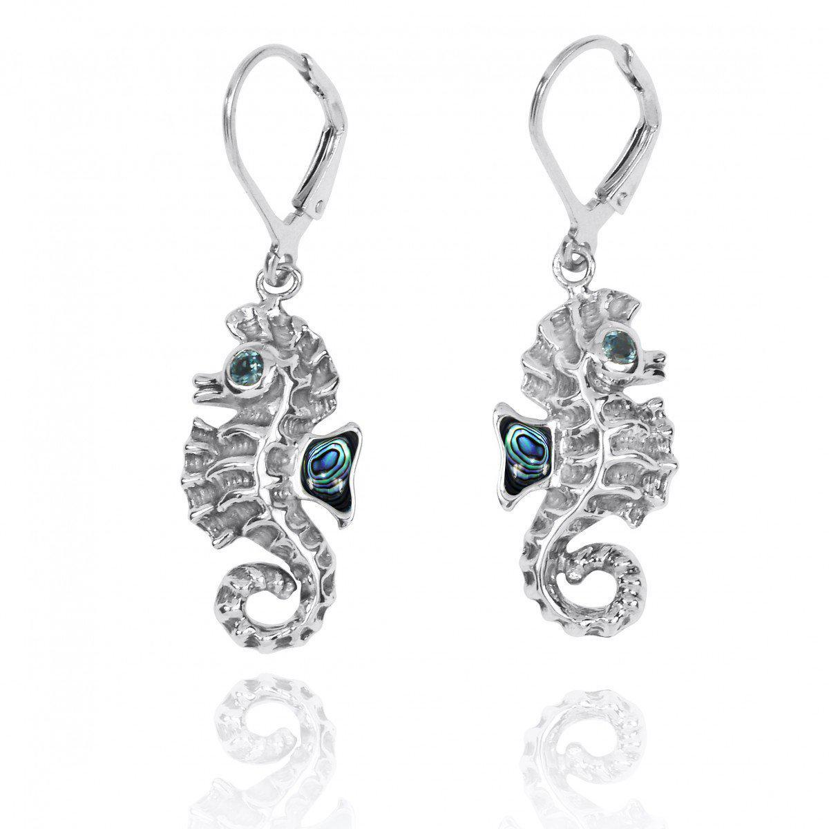 Sterling Silver Seahorse Lobster Clasp Earrings with Abalone Shell and London Blue Topaz