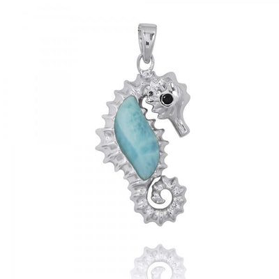 Pendant-Sterling Silver Seahorse Pendant Necklace with Larimar and Black Spinel-Coastal Passion