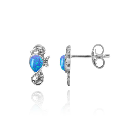 Earrings-Sterling Silver Seahorse Stud Earrings with Pear Shape Blue Opal-Coastal Passion