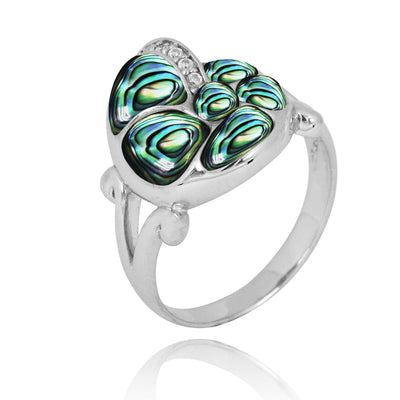 Ring-Sterling Silver SeaShell Ring with Abalone Shell and White CZ-Coastal Passion