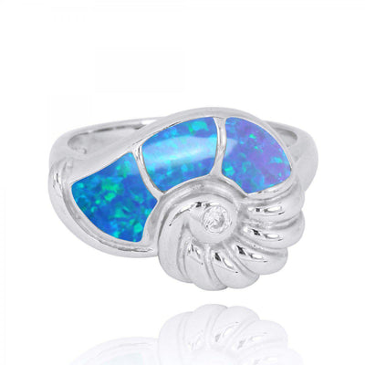 Ring-Sterling Silver Seashell Ring with Blue Opal and White CZ-Coastal Passion