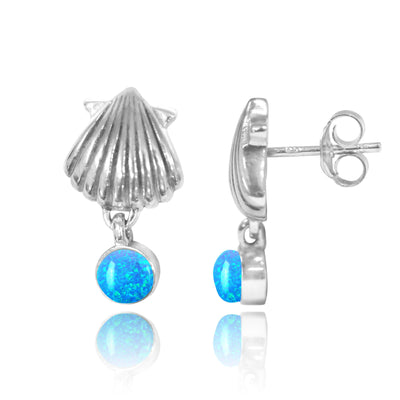 Earrings-Sterling Silver Seashell Stud Earrings with Dangling Round Blue Opal-Coastal Passion