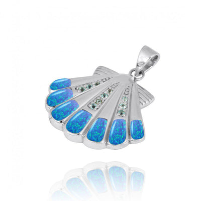 Pendant-Sterling Silver Seashell with Swiss Blue Topaz Blue Opal Pendant Necklace-Coastal Passion