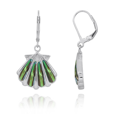 Earrings-Sterling Silver Shell with Abalone Shell Lever Back Earrings-Coastal Passion