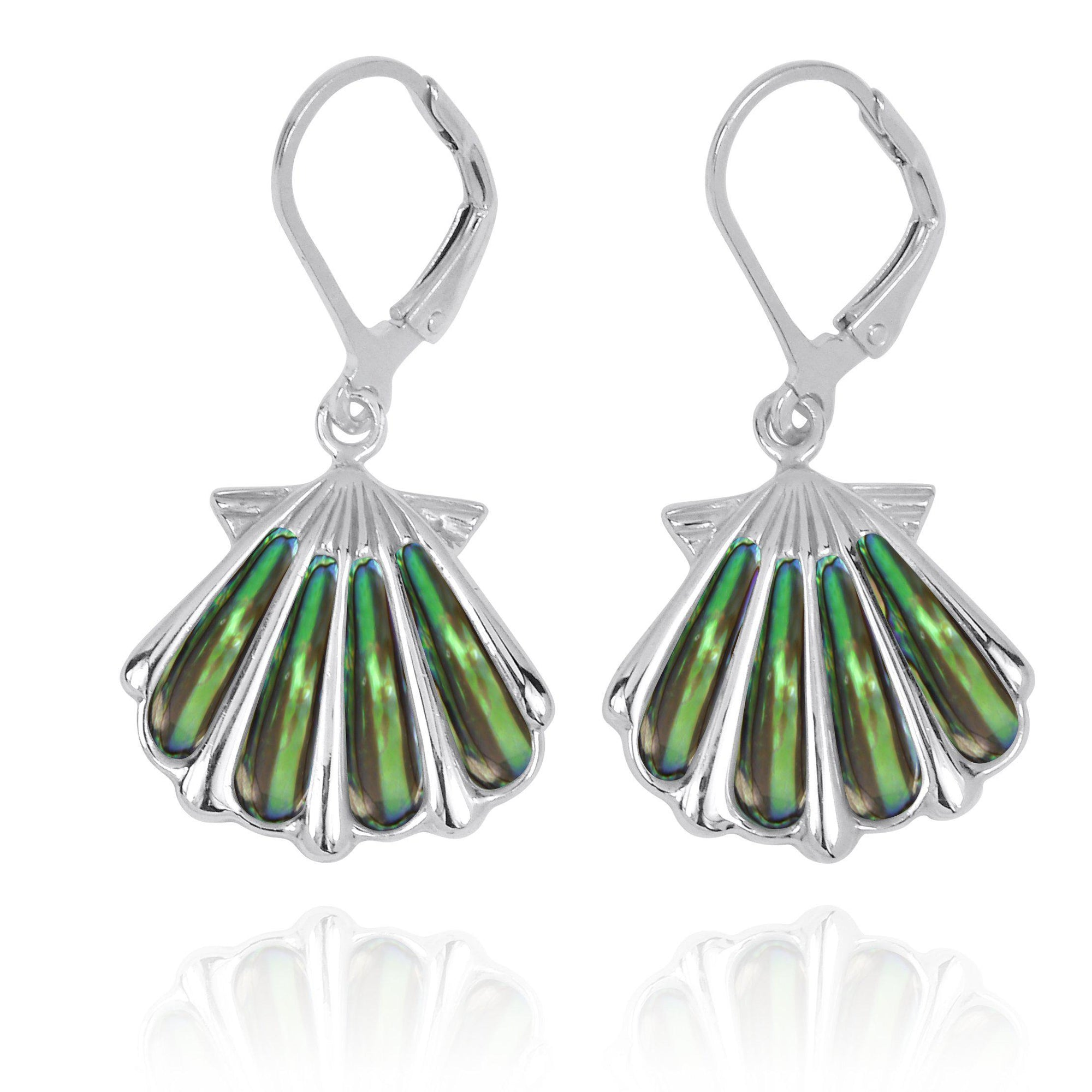 Sterling Silver Shell with Abalone Shell Lever Back Earrings