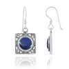 Earrings-Sterling Silver Square French Wire Earrings with Round Lapis-Coastal Passion