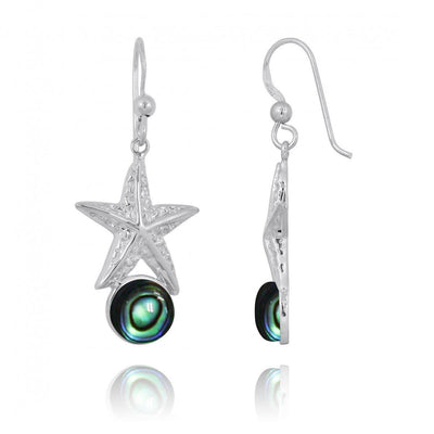 Earrings-Sterling Silver Starfish French Wire Earrings with Round Abalone Shell-Coastal Passion