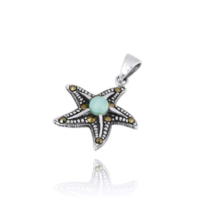 Pendant-Sterling Silver Starfish Pendant Necklace with Marcasite and Round Larimar-Coastal Passion