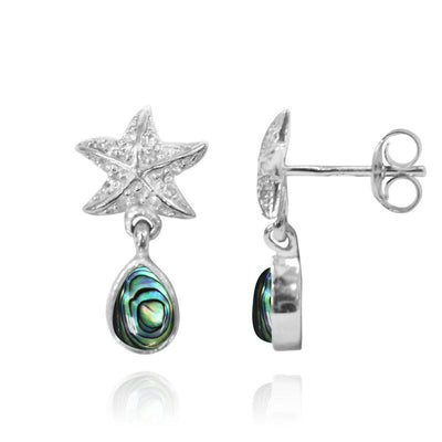 Earrings-Sterling Silver Starfish Stud Earrings with Round Abalone Shell and Teardrop White Topaz-Coastal Passion