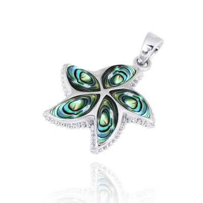 Pendant-Sterling Silver Starfish with Abalone Shell Pendant Necklace-Coastal Passion