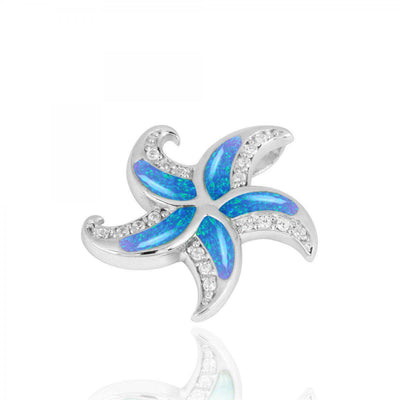 Pendant-Sterling Silver Starfish with Blue Opal and CZ Pendant Necklace-Coastal Passion