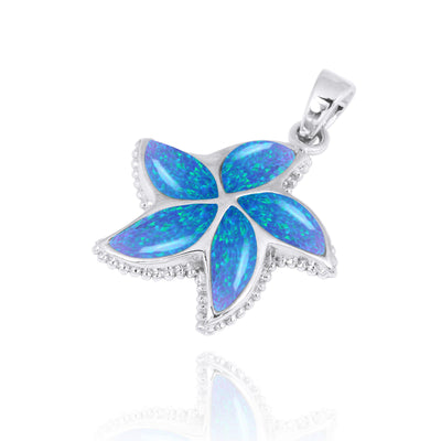 Pendant-Sterling Silver Starfish with Blue Opal Pendant Necklace-Coastal Passion