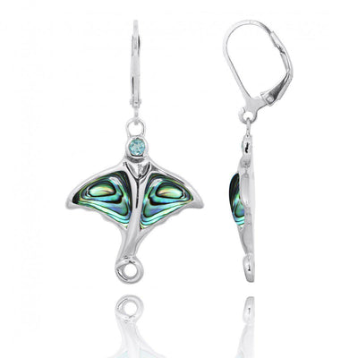 Earrings-Sterling Silver Stingray with Blue Opal and Swiss Blue Topaz Lever Back Earrings-Coastal Passion