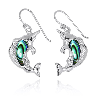 Earrings-Sterling Silver Swordfish with Abalone Shell and Black CZ French Wire Earrings-Coastal Passion