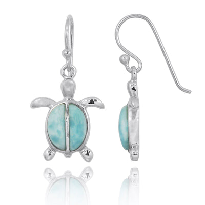 Earrings-Sterling Silver Turtle French Wire Earrings with 2 Larimar Stones-Coastal Passion