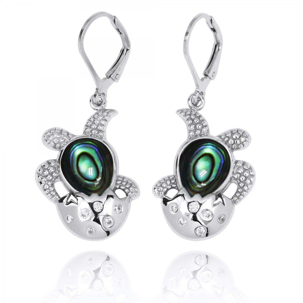 Sterling Silver Turtle Hatchling with Abalone Shell Lever Back Earrings
