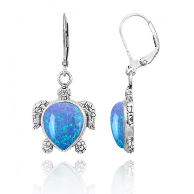 Earrings-Sterling Silver Turtle Lever Back Earrings with Blue Opal-Coastal Passion