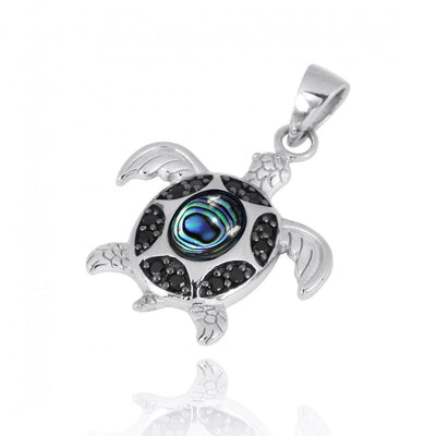 Pendant-Sterling Silver Turtle Pendant Necklace with Abalone Shell and Black Spinel-Coastal Passion