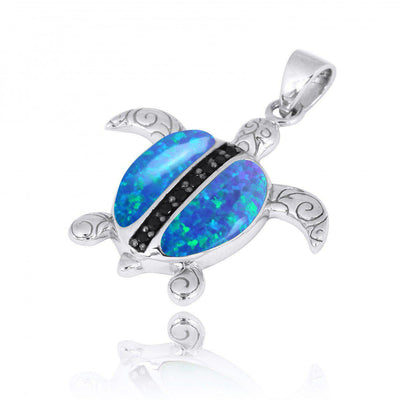 Pendant-Sterling Silver Turtle Pendant Necklace with Blue Opal and Black Spinel-Coastal Passion