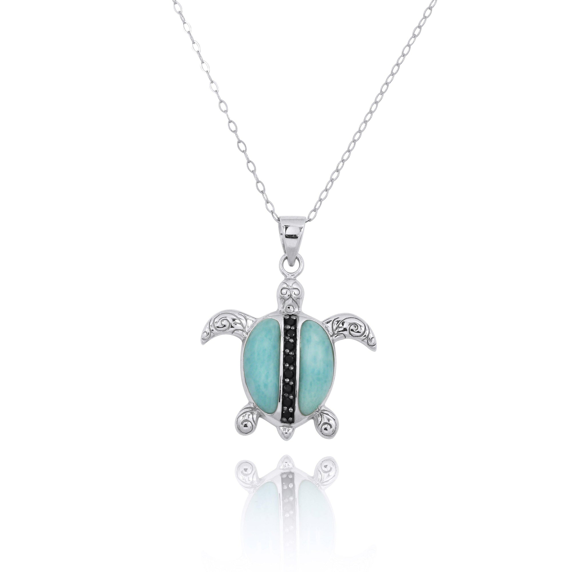 Sterling Silver Turtle Pendant Necklace with Larimar and Black Spinel