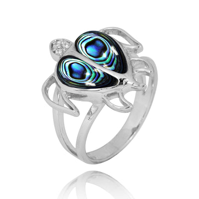 Ring-Sterling Silver Turtle Ring with Abalone Shell and White CZ-Coastal Passion