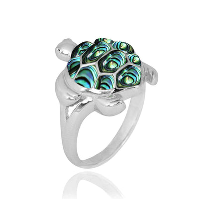 Ring-Sterling Silver Turtle Ring with Abalone Shell-Coastal Passion