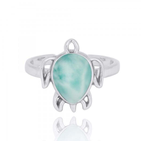 Ring-Sterling Silver Turtle Ring with Larimar-Coastal Passion