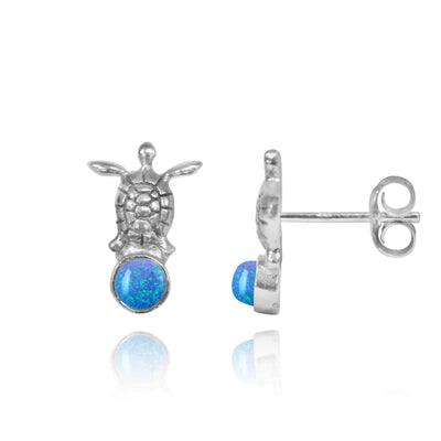 Earrings-Sterling Silver Turtle Stud Earrings with Round Blue Opal-Coastal Passion