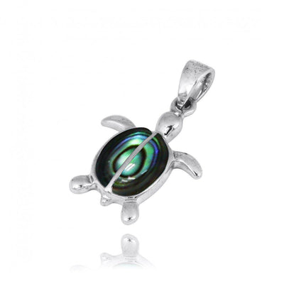 Pendant-Sterling Silver Turtle with 2 Abalone Shell Stones Pendant Necklace-Coastal Passion