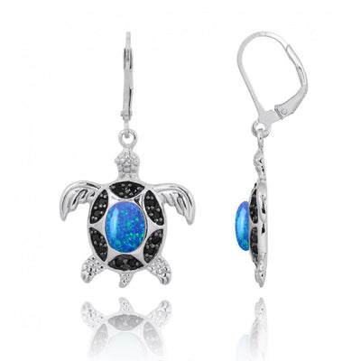 Earrings-Sterling Silver Turtle with Blue Opal and Black Spinel Lever Back Earrings-Coastal Passion