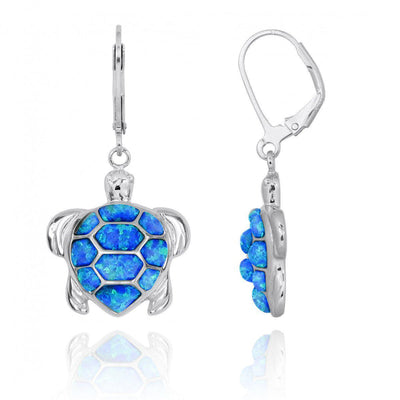 Earrings-Sterling Silver Turtle with Blue Opal Lever Back Earrings-Coastal Passion