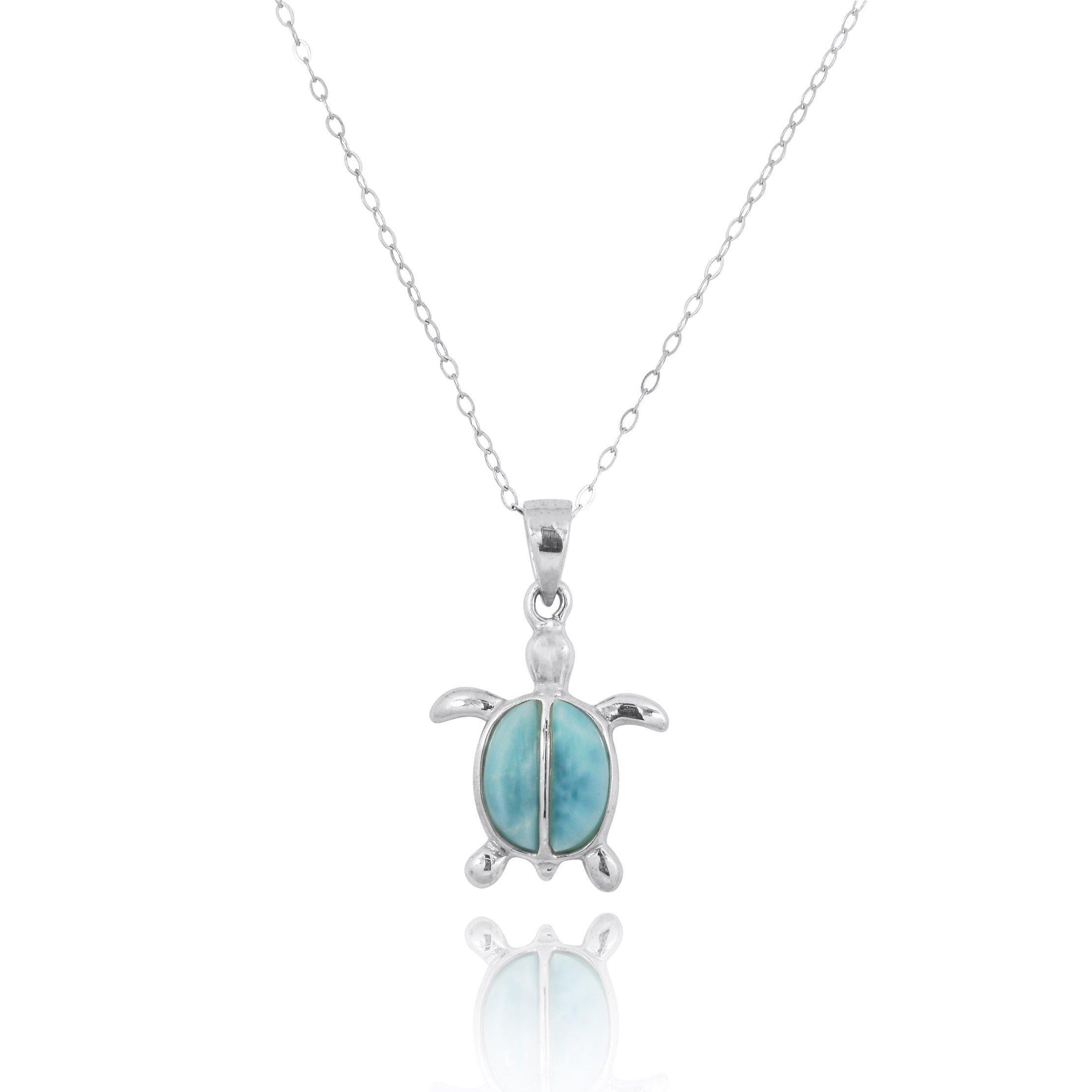 Sterling Silver Turtle with Two Larimar Stones Pendant Necklace